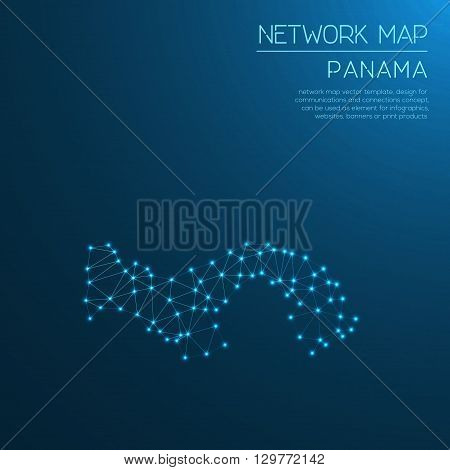 Panama Network Map. Abstract Polygonal Map Design. Internet Connections Vector Illustration.