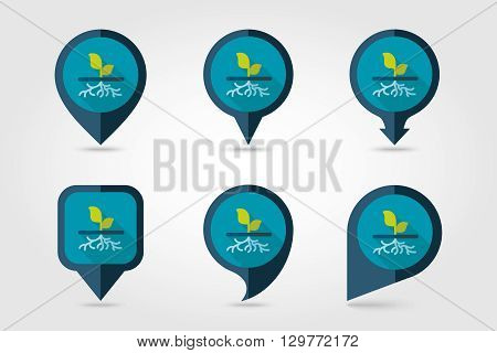 Plant with roots flat vector pin map icon. Map pointer. Map markers. Garden eps 10