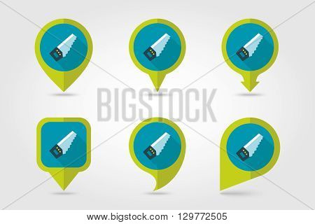 Hand saw flat vector pin map icon. Map pointer. Map markers. Garden eps 10