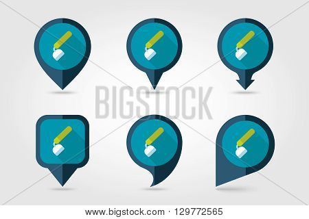 Hoe flat vector pin map icon. Map pointer. Map markers. Garden Equipment eps 10