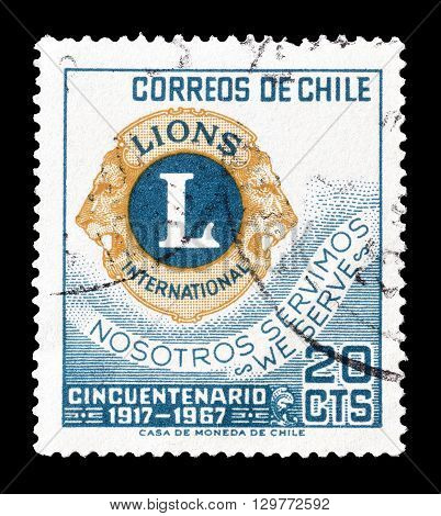 CHILE - CIRCA 1967 : Cancelled postage stamp printed by Chile, that shows Lions emblem.