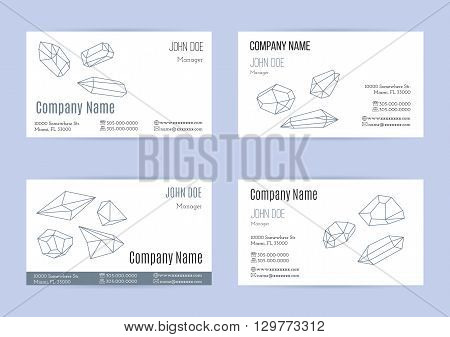 Collection of business cards with geometric outline shapes of crystals and minerals. Mono line style isolated on white background. Trendy hipster logotypes. Polygonal icons. Template design. Vector.