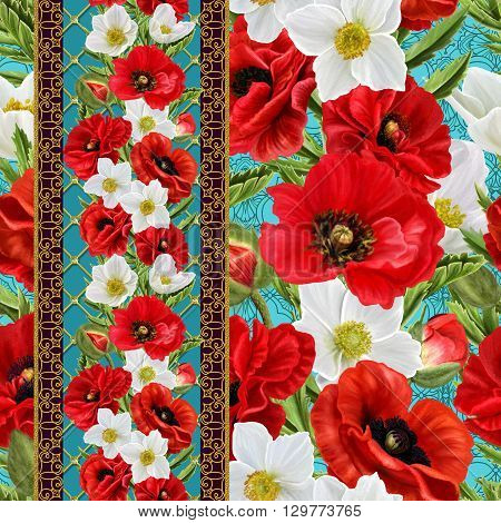Red poppies and white anemone flowers. Floral background pattern seamless. Floral background.