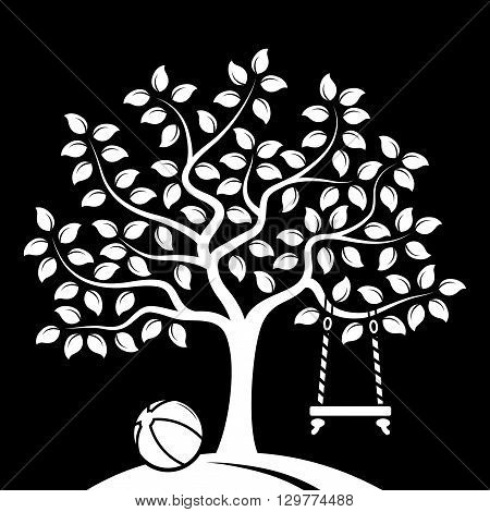 vector tree with swing and ball isolated on black background
