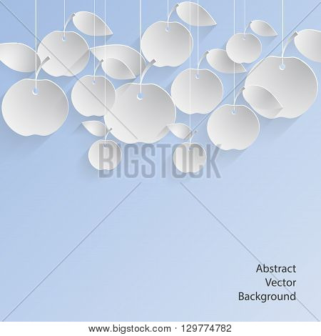 Paper apples with drop shadows hanging on strings. Blue pastel background. Vector illustration.