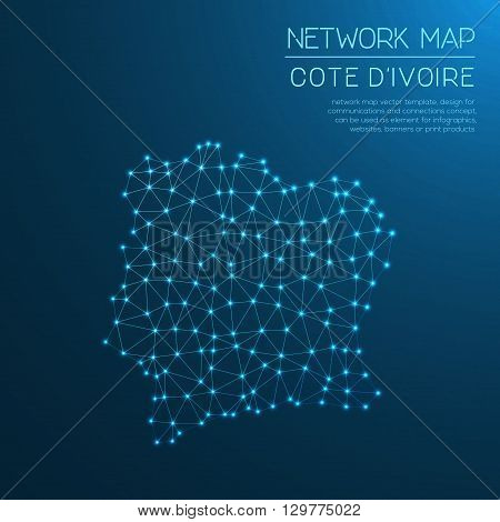 Cote D'ivoire Network Map. Abstract Polygonal Map Design. Internet Connections Vector Illustration.