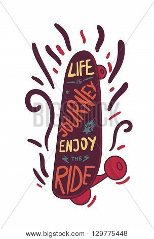 Inspirational vintage lettering inscribed in skateboard for print t-shirt poster sport and travel emblems logo. Retro motivational longboard design element. Vector