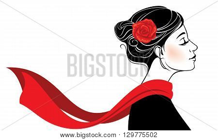 Vector illustration. Beautiful romantic woman with rose in her hair and red scarf flying on the wind. Isolated on white background