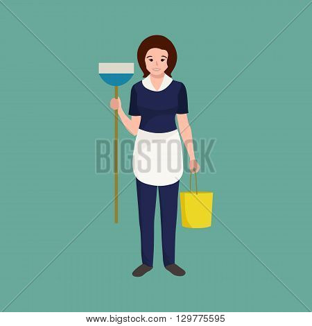 Housewife girl homemaker cleaning woman. Peoples profession team vector illustration. Home cleaning woman