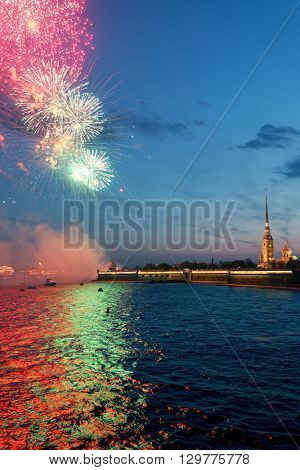 ST. PETERSBURG, RUSSIA - MAY 9, 2016: Fireworks in honor of the Victory Day. Artillery is located under the walls of the Peter and Paul fortress