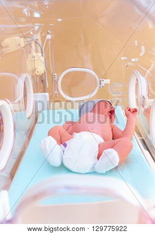 Newborn Baby Lying Inside The Infant Incubator In Hospital