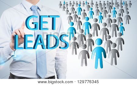 Lead generation with businessman and staff icons. potential client consept. Business people.
