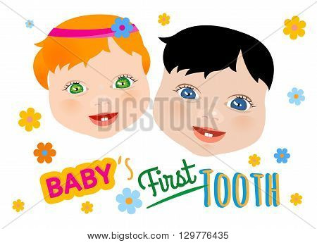 Cute twins faces with first teeth on a white background. Tooth eruption concept with European babies portraits in a flat style. Useful for poster, leaflet or postcard graphic design