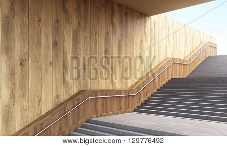 Side view of staircase with railing and wooden plank wall. 3D Rendering