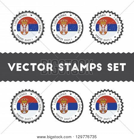 I Love Serbia Vector Stamps Set. Retro Patriotic Country Flag Badges. National Flags Vintage Round S