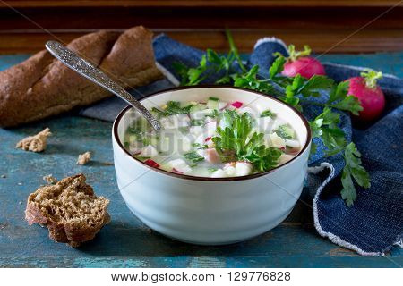 Spring-summer Cold Soup With Vegetables With Serum, A Traditional Dish Of Russian Cuisine.