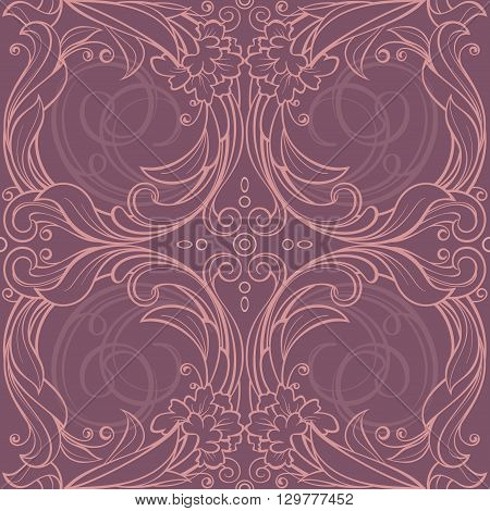 Vector illustration. Seamless floral pattern in pink and perple shades