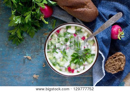 Spring-summer Cold Soup With Vegetables With Serum, A Traditional Dish Of Russian Cuisine. Top View