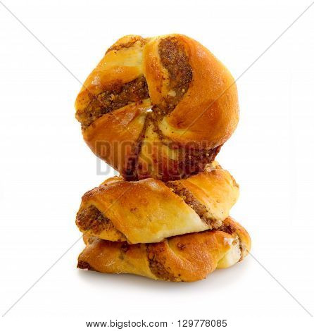 Danish pastry   on the white background.
