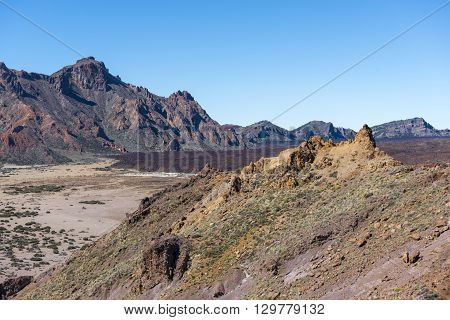 Desert valley, with its many sulfur deposits surrounding the volcano Teide on Tenerife.