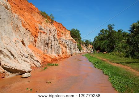 The creek fairies sunny day. The surroundings of Mui Ne, Vietnam. Tourist  landmark