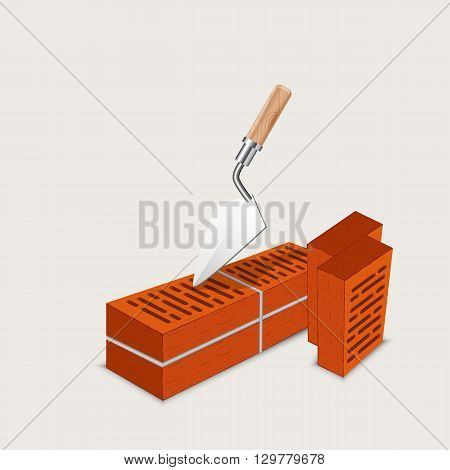 brickwork masonry construction of brick - vector illustration