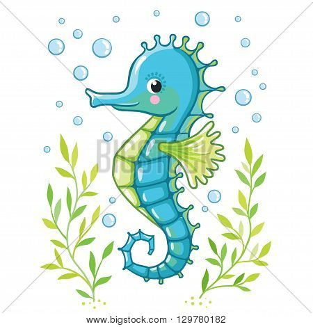 Cute cartoon Sea horse isolated. Seahorse and algae on a white background vector illustration.