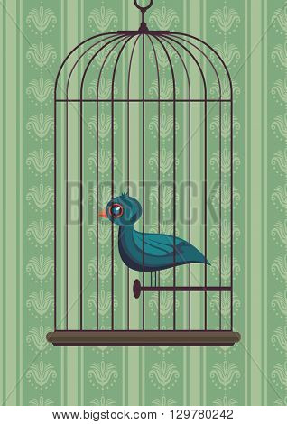 Vintage illustration of a bird in the cage. Vector illustration.