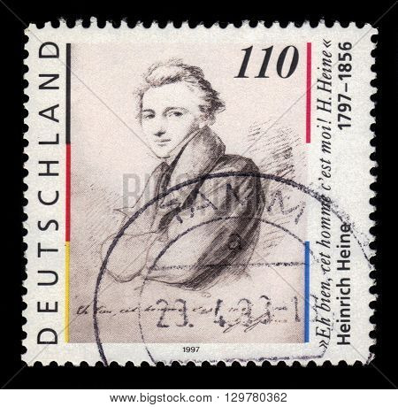 GERMANY - CIRCA 1997: a stamp printed in Germany shows portrait Heinrich Heine (1797-1856)  german poet, journalist, essayist, circa 1997
