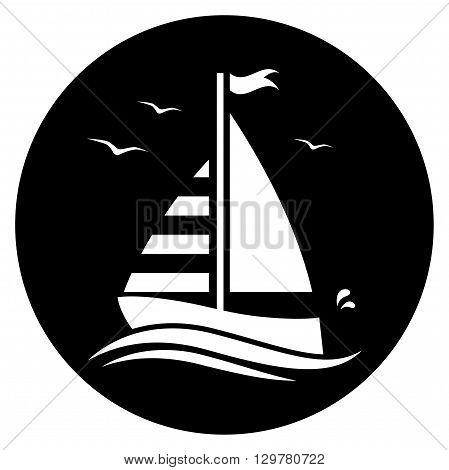 vector floating sailboat isolated on black round