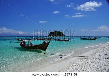 Longboats on beach