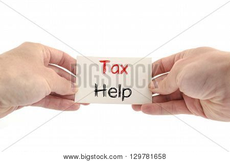 Tax help text concept isolated over white background