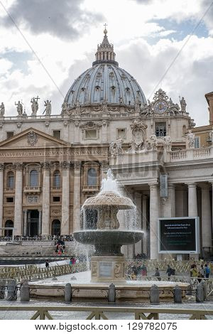 ROME, ITALY - APRIL 8, 2016: Saint Peter's basilica in the St. Peter square. Vatican