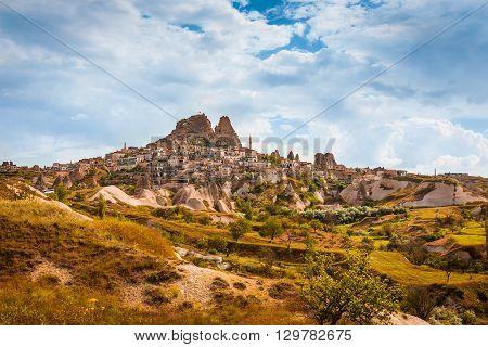 Turkish fortress Uchisar landscape in Cappadocia Turkey