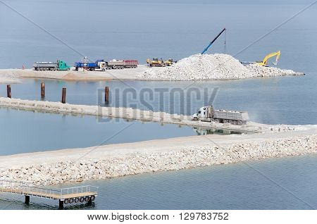 General view of the construction of the bridge Kerch Crimea