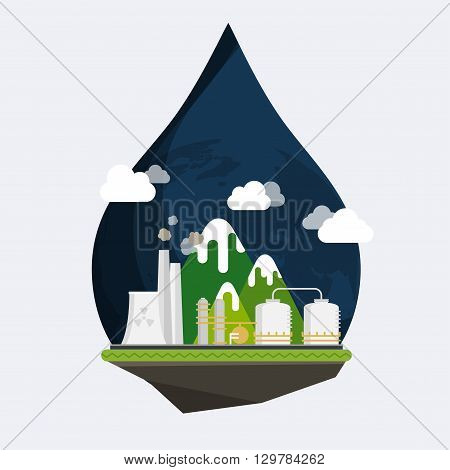 Ecology Concept Vector. Industrial landscape. Plant or factory. Ecology. Pollution. Flat design modern vector illustration concept.