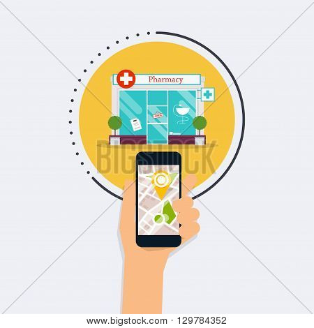 Hand Holding Mobile Smart Phone With Mobile Application Search Pharmacy. Find Closest On City Map. F