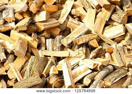 Firewood background - chopped firewood