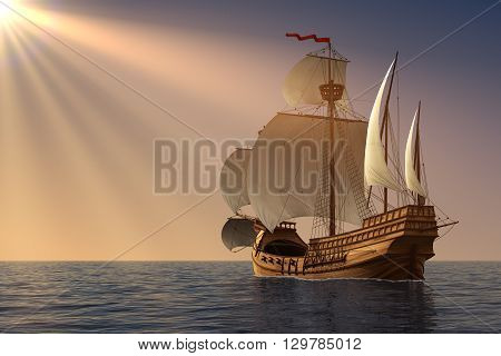 Caravel In Rays Of the Sun. 3D Illustration.