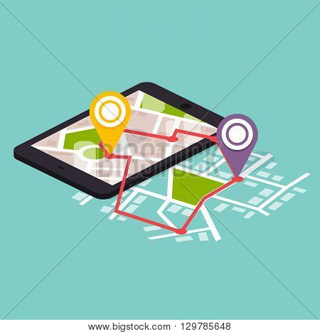 Flat 3D Isometric Mobile Navigation Maps Infographic. Paper Map With Marker. Flat Design Modern Vect