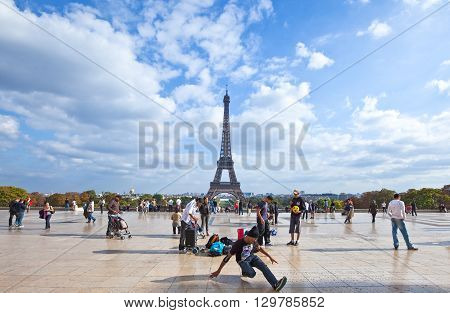 Paris France - October 2 2009: People in the Trocadero Esplanade with the Tour Eiffel in the background.
