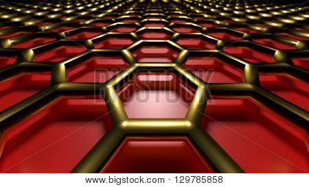 3D rendering golden abstract cellular lattice on a red background