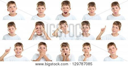 Portrait of emotional little boy on white background collage