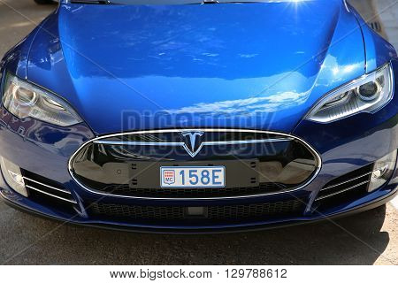 Nice France - May 15 2016: Blue Tesla Model S P90D Car Parked in Front of the Nice Orthodox Church