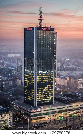 WARSAW POLAND - NOVEMBER 3 2015. Aerial view from Palace of Culture and Science with Marriott Hotel building in Warsaw
