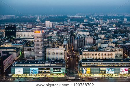 WARSAW POLAND - NOVEMBER 3 2015. Aerial view from Palace of Culture and Science on Marszalkowska Street - one of main streets in Warsaw