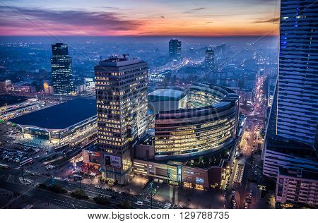WARSAW POLAND - NOVEMBER 3 2015. Aerial view from Palace of Culture and Science with Golden Terraces shopping centre and Warszawa Centralna railway station in Warsaw