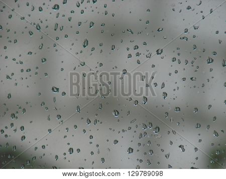 raindrops on glass gray as the background.