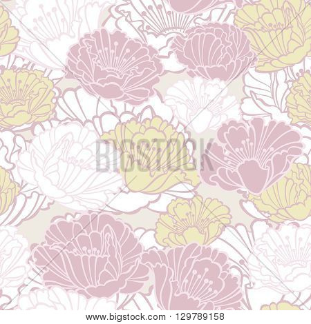 Vector seamless floral pattern with poppies in pastel shades