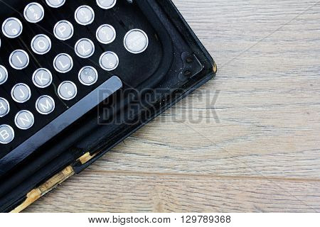 Overhead Image Of An Old Fashioned Typewriter